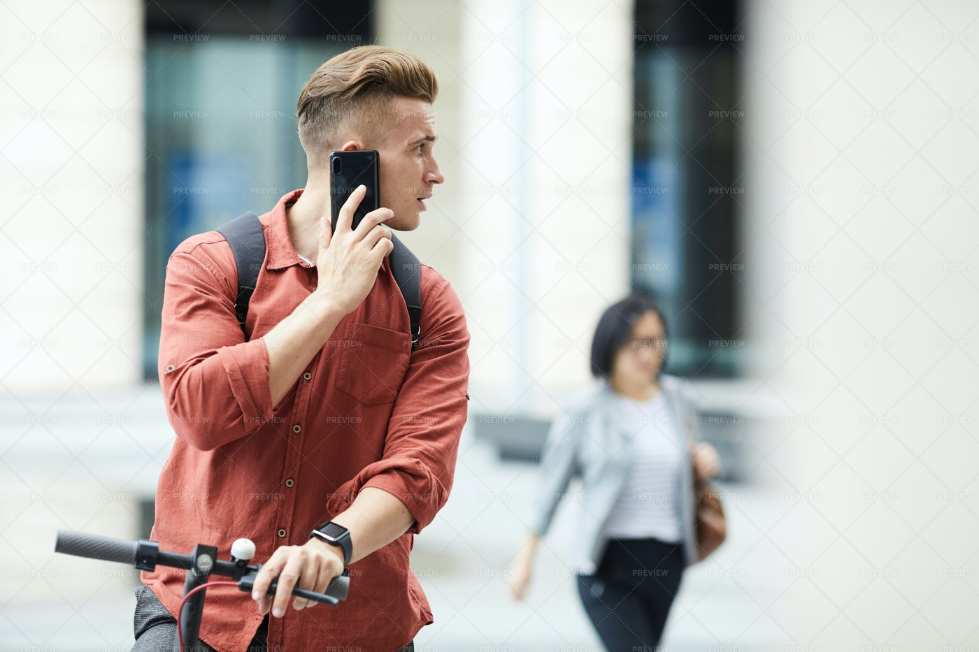 Handsome Young Man On The Move: Stock Photos