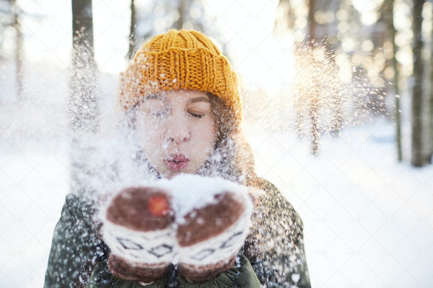 Fun In Winter Park: Stock Photos