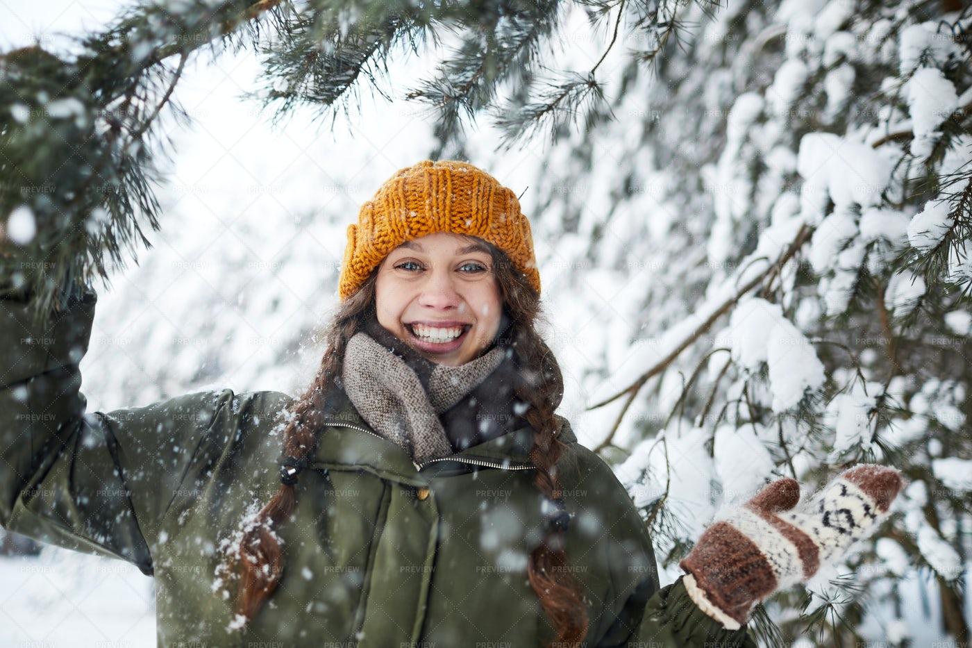Happy Girl In Woods: Stock Photos