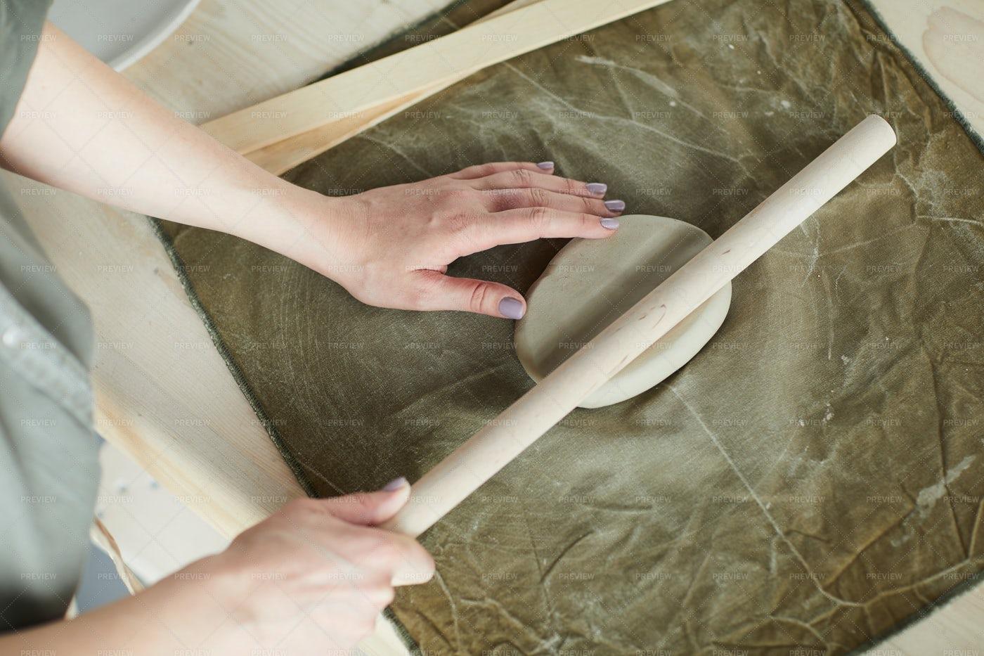 Woman Shaping Clay: Stock Photos