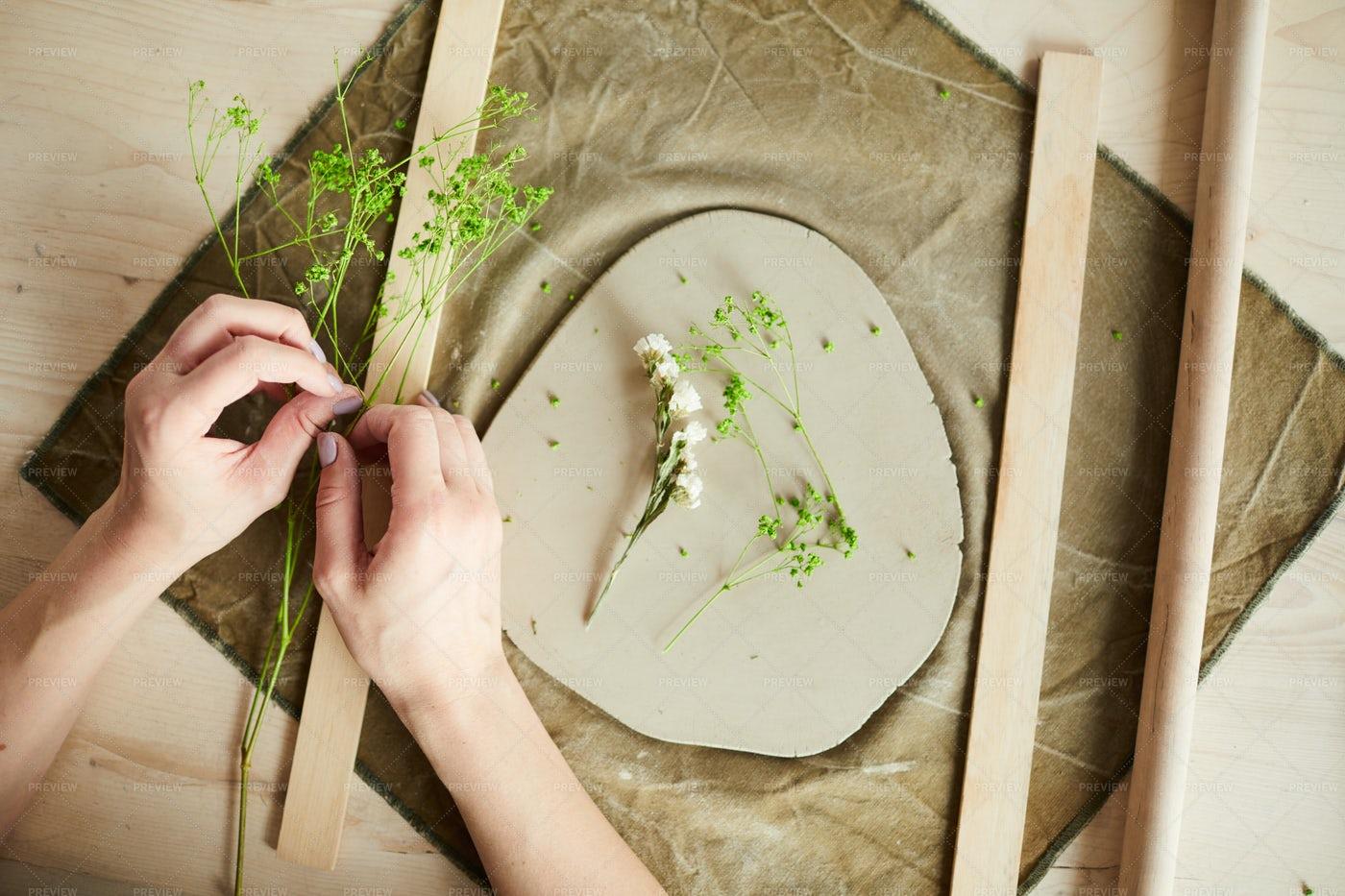 Creating Floral Ceramics: Stock Photos