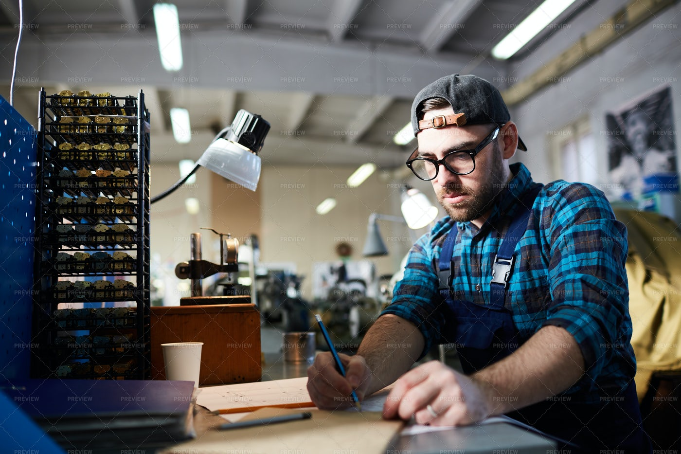 Clockmaker At Factory: Stock Photos