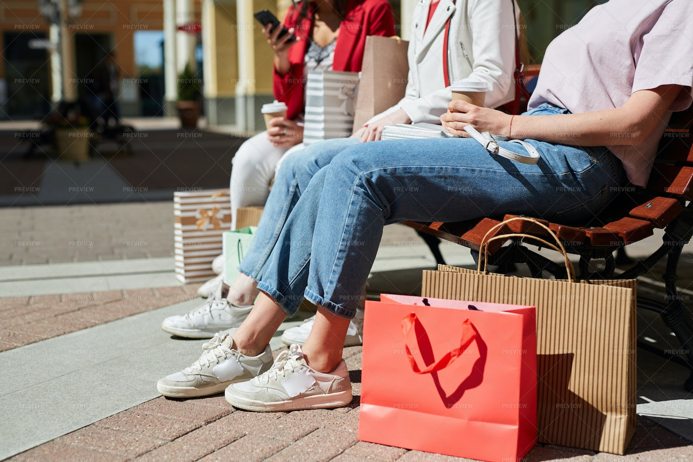 Casual Outfits Of Shoppers: Stock Photos