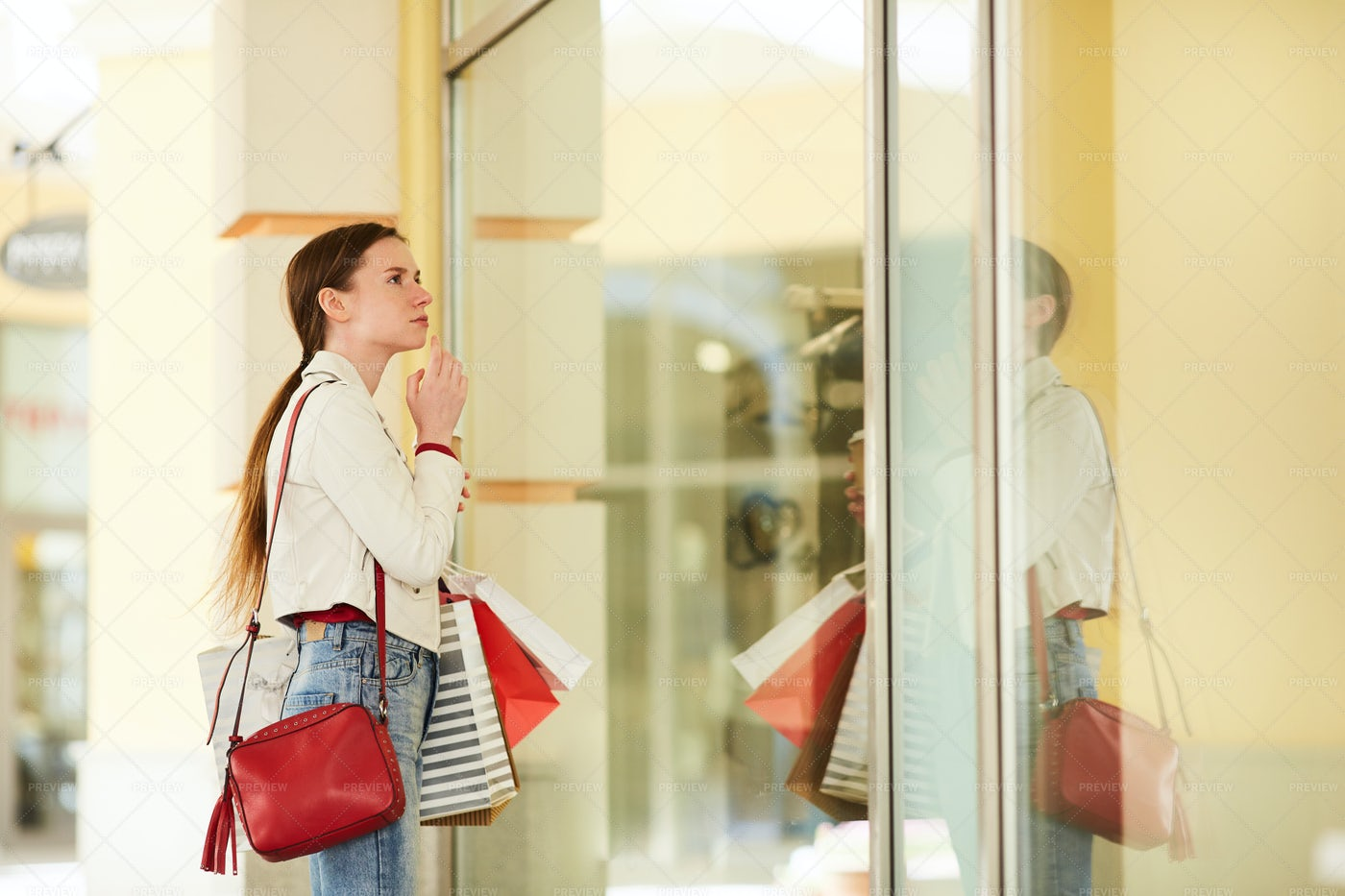 Looking In Boutique Display: Stock Photos