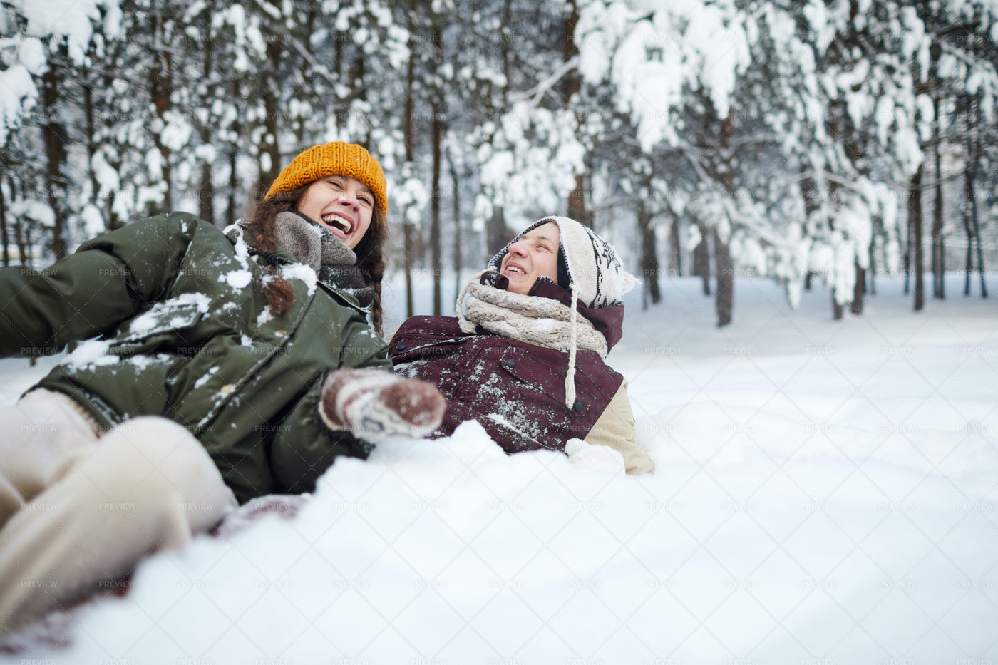 Couple Playing In Snow: Stock Photos