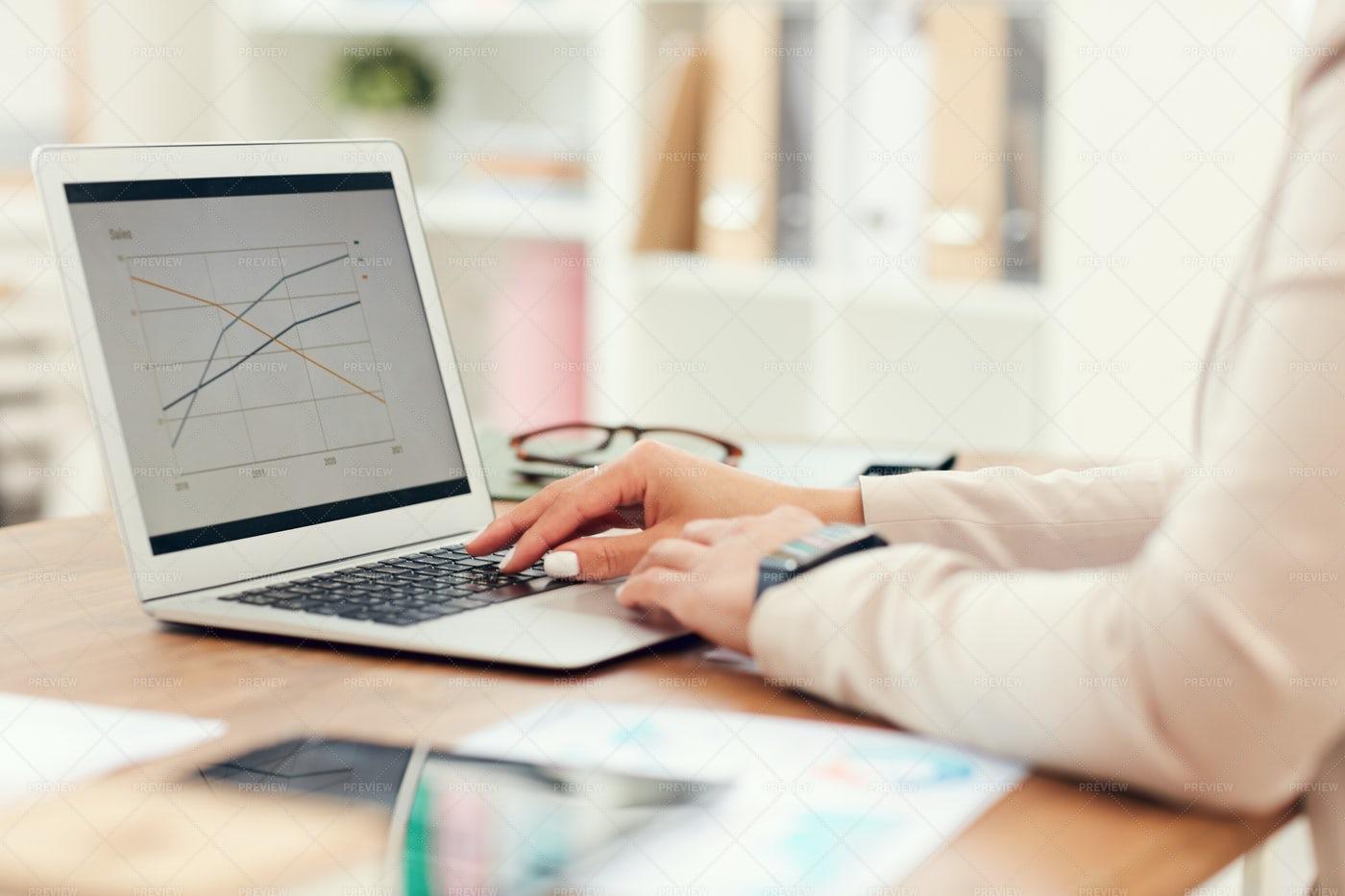 Businesswoman Typing Close Up: Stock Photos