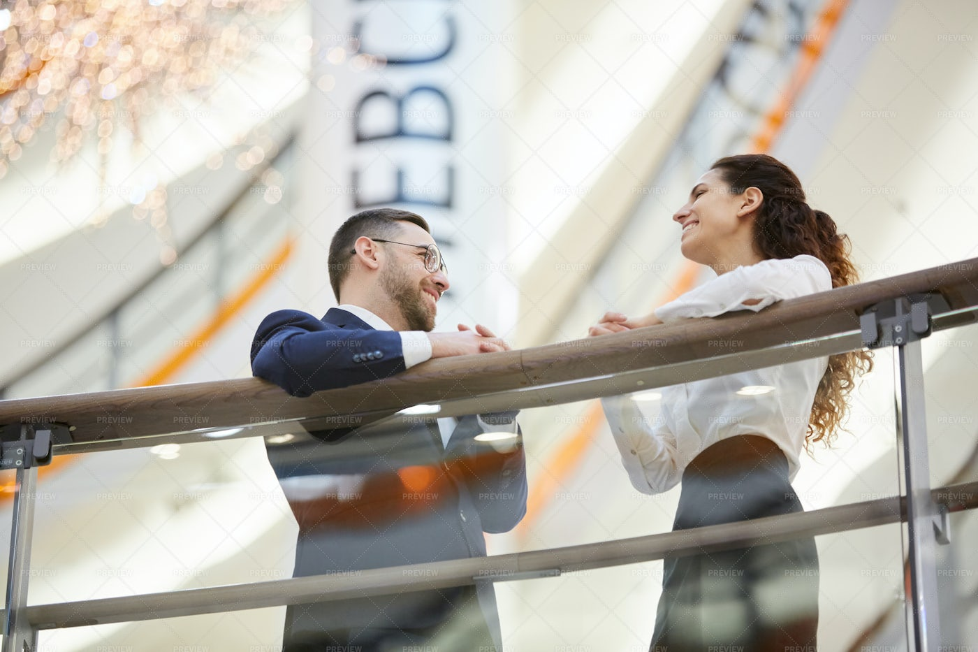 Colleagues In The Mall: Stock Photos