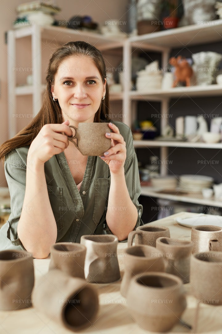 Smiling Female Potter: Stock Photos