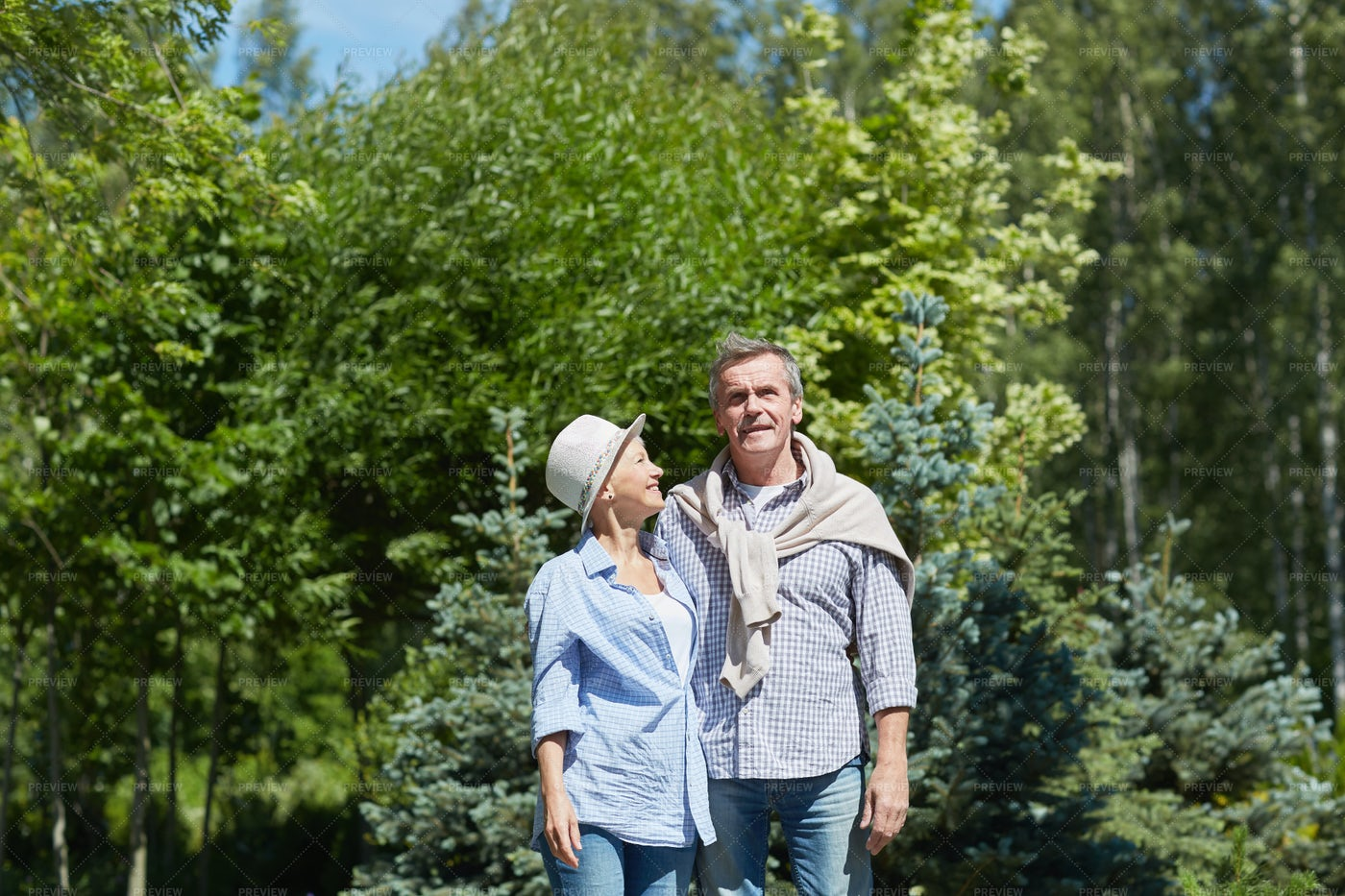 Senior Couple In Woods: Stock Photos