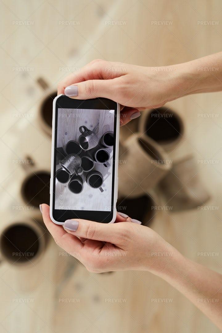 Potter Taking Photo Closeup: Stock Photos