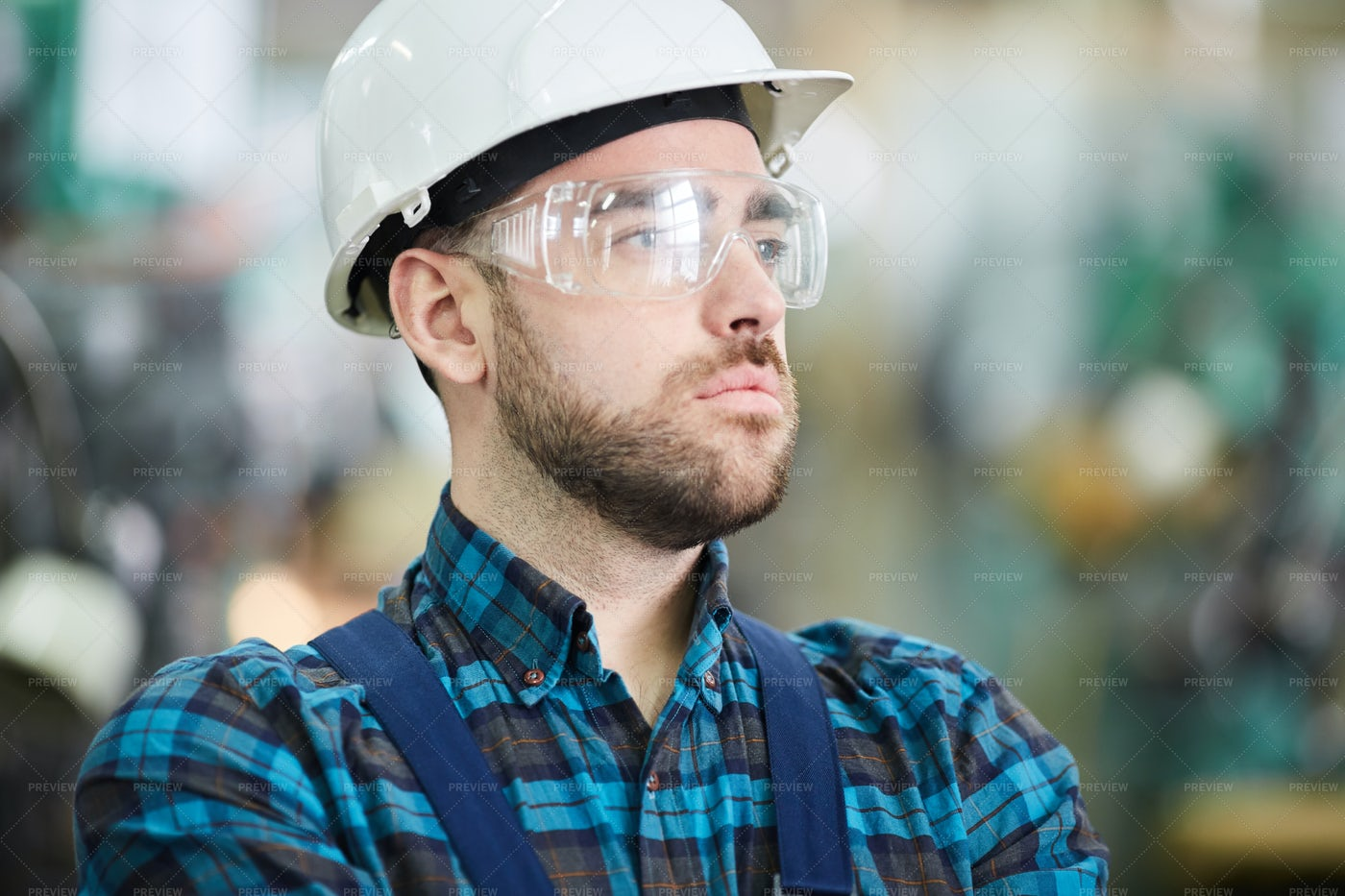 Pensive Factory Worker: Stock Photos