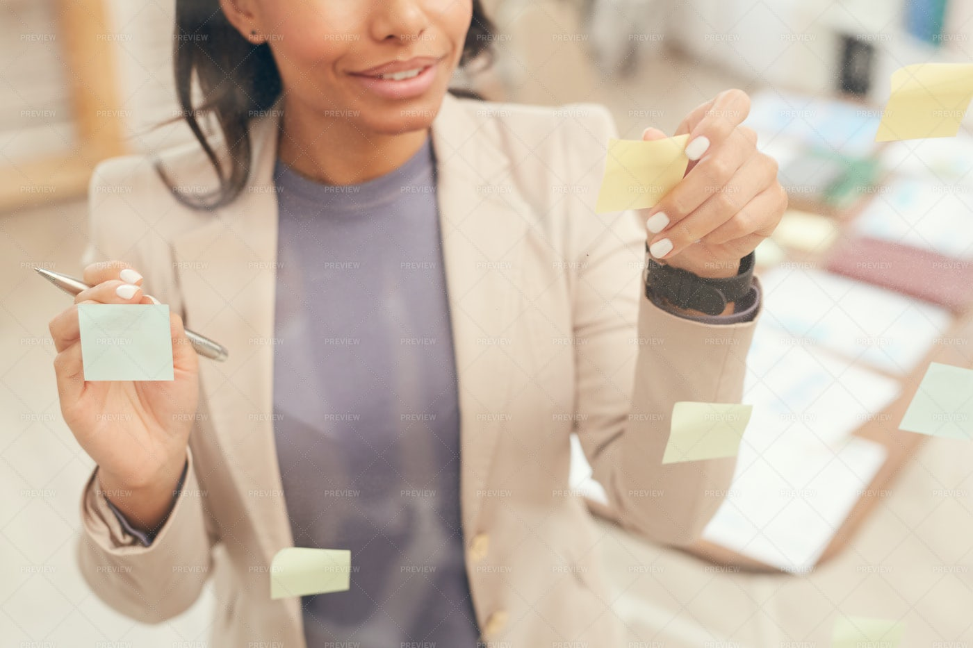 Businesswoman Planning Project By...: Stock Photos