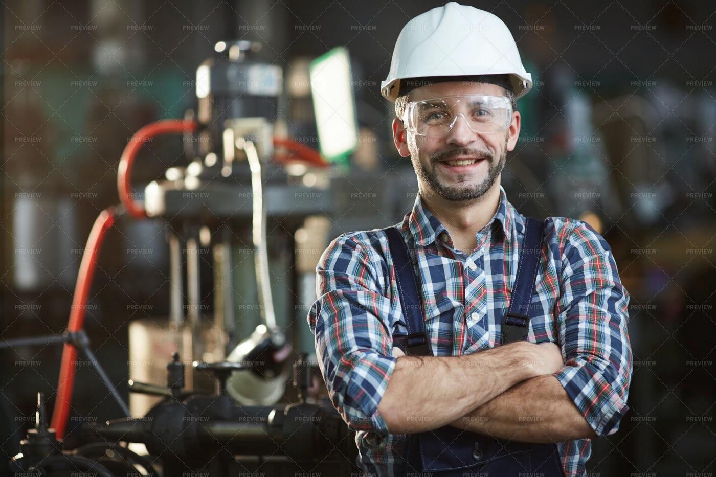 Worker Wearing Hardhat: Stock Photos