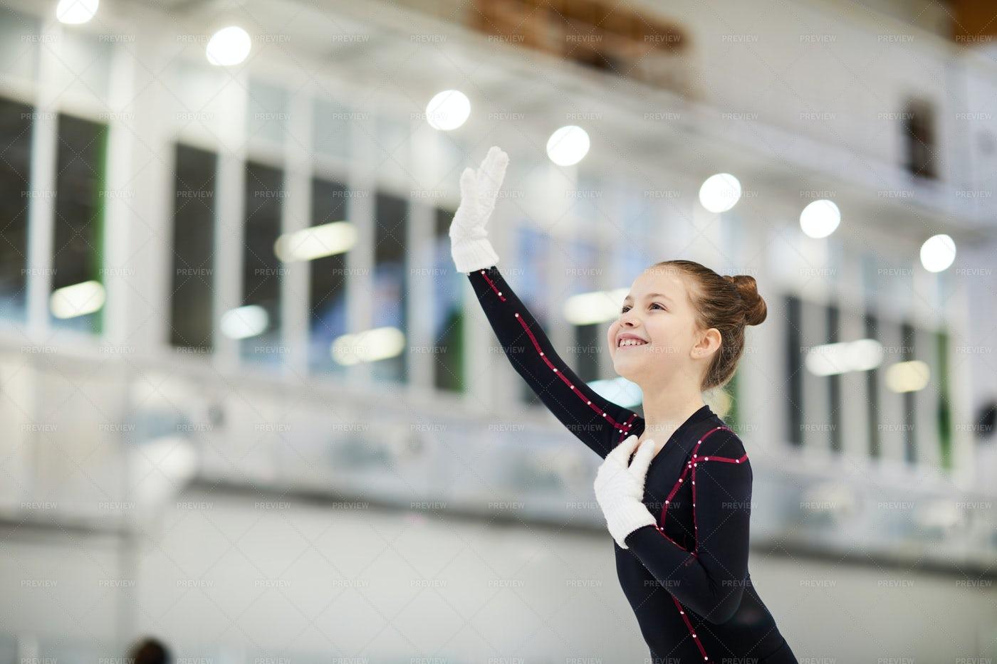 Little Figure Skater Waving: Stock Photos