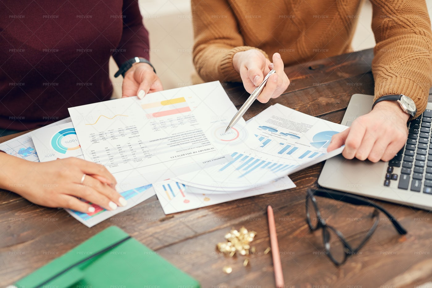 Business People Analyzing Data In...: Stock Photos