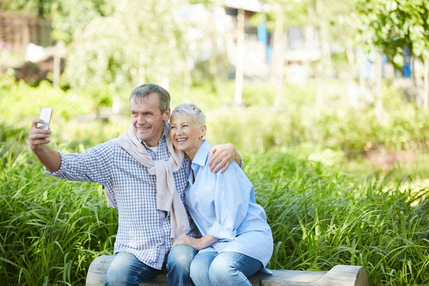 Senior Couple Taking Selfie...: Stock Photos