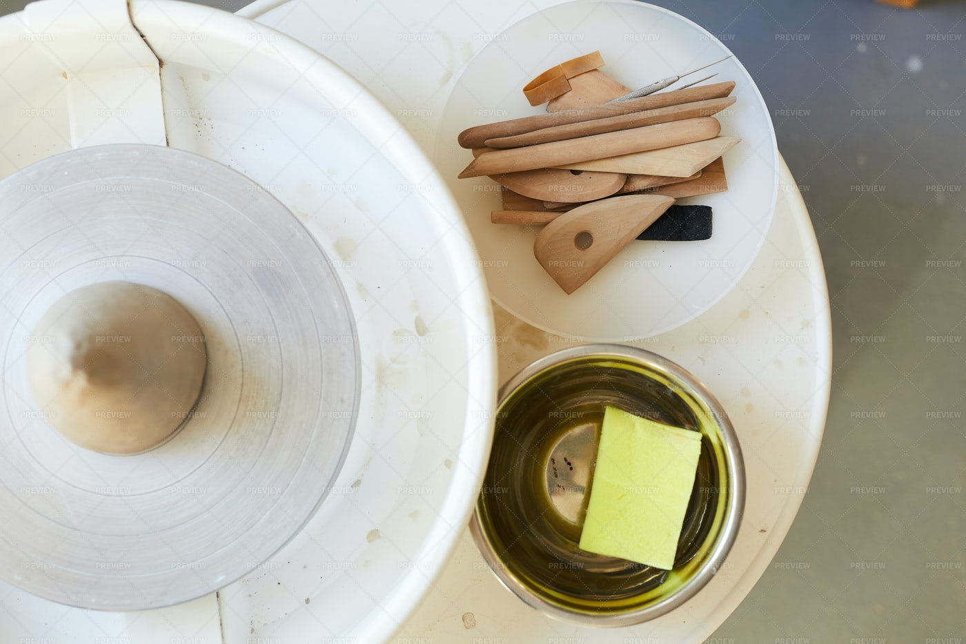 Potters Wheel Above View: Stock Photos