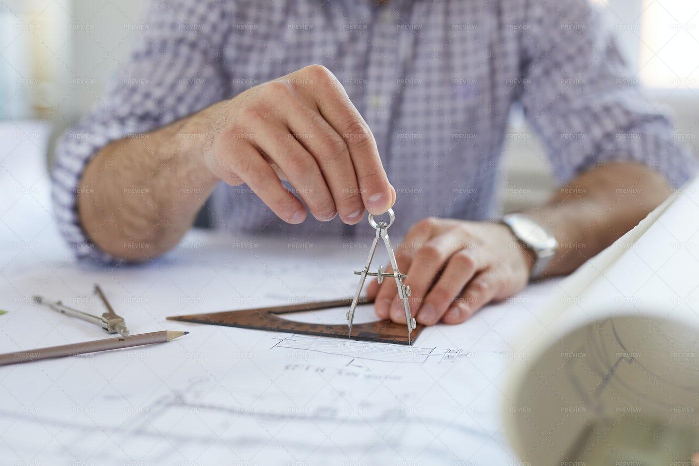 Engineer Using Compass: Stock Photos
