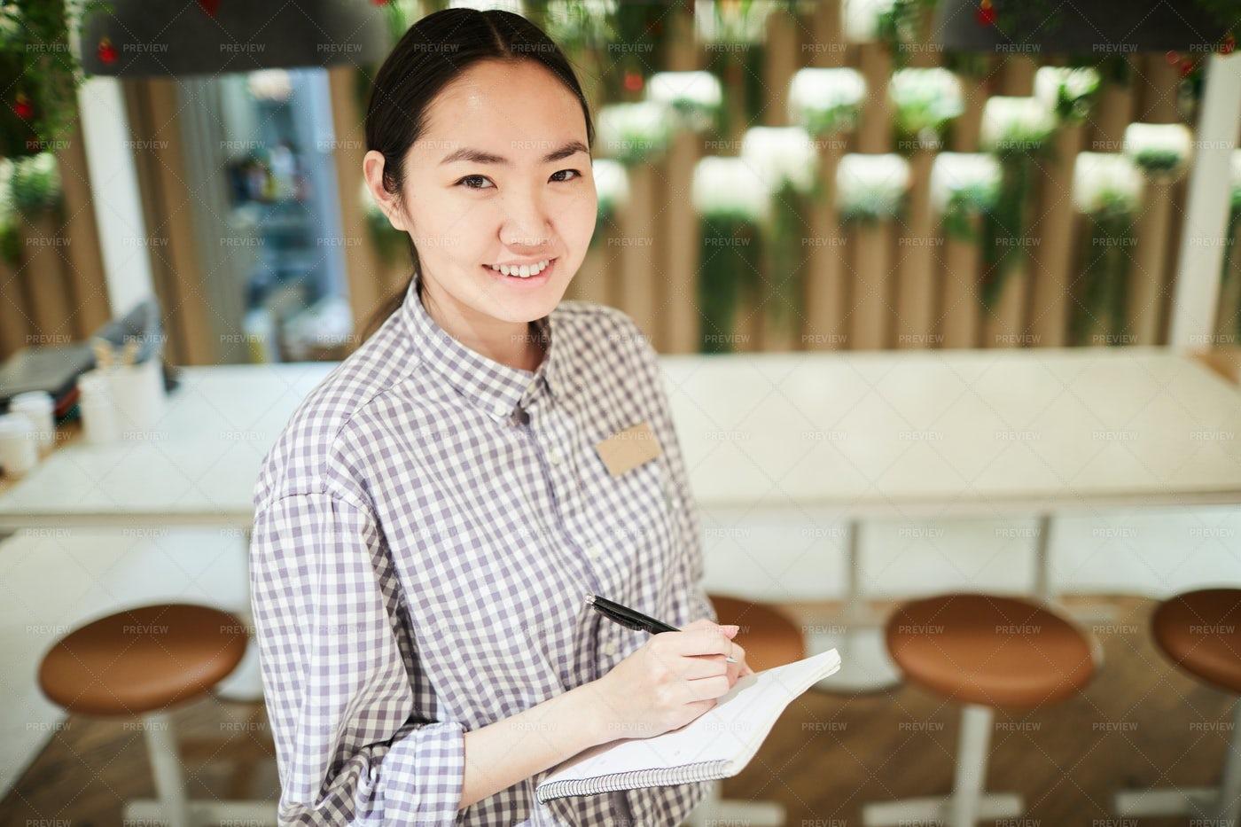 Female Asian Waitress: Stock Photos