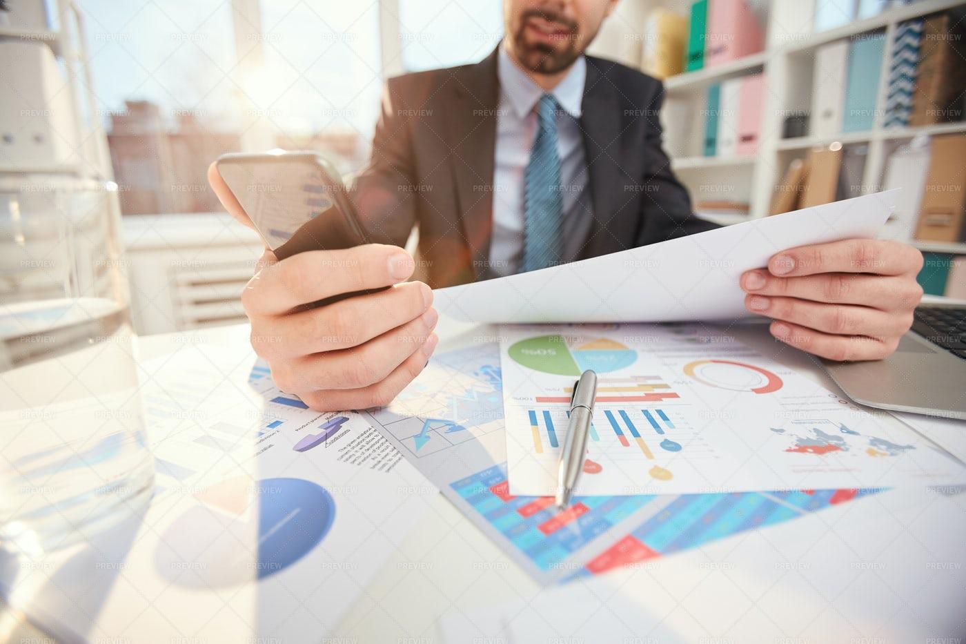 Businessman At Workplace Close Up: Stock Photos