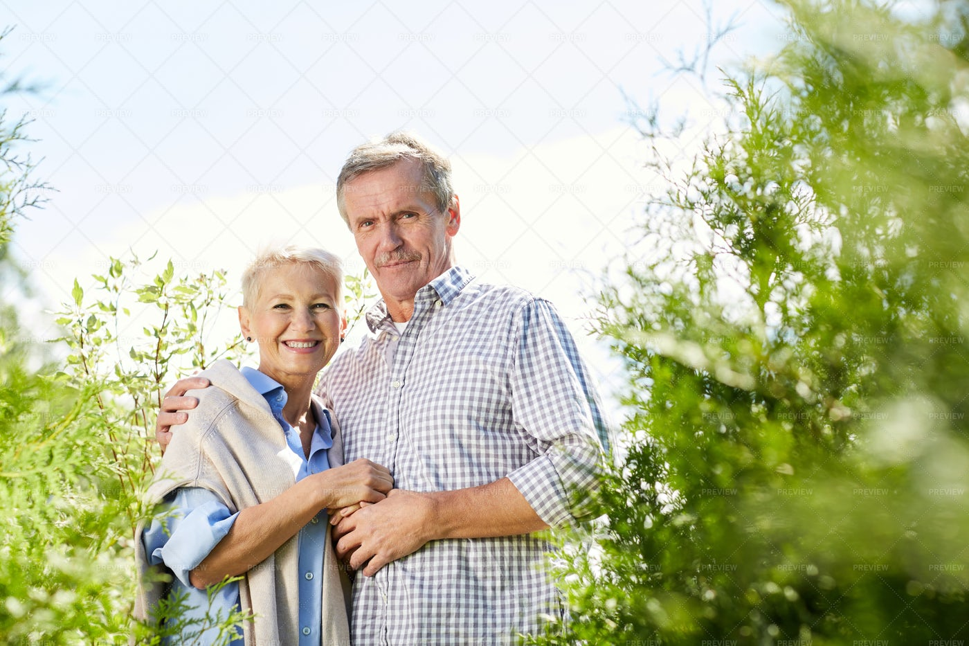 Senior Couple Posing In Park: Stock Photos