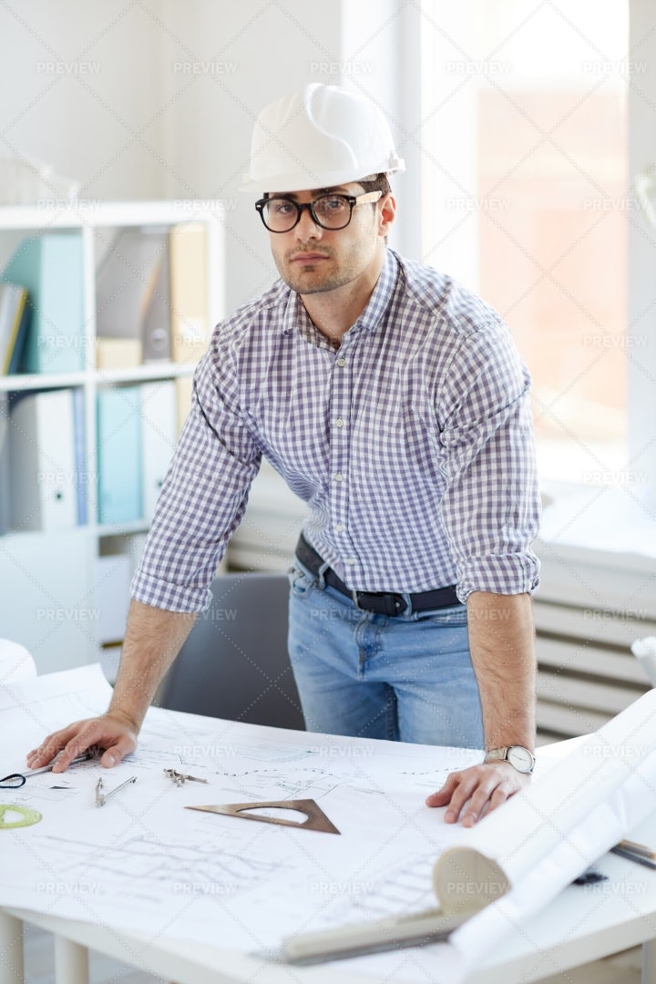Middle-Eastern Engineer Posing At...: Stock Photos