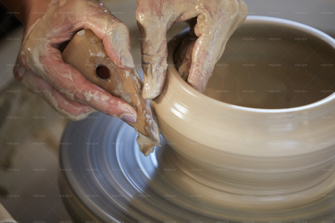 Female Hands Shaping Clay: Stock Photos