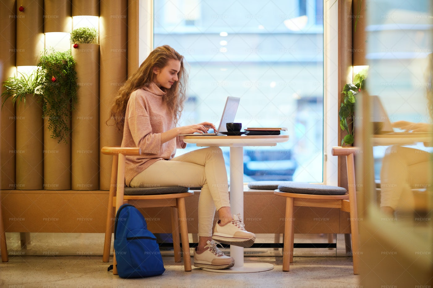Female Student In Cafe: Stock Photos