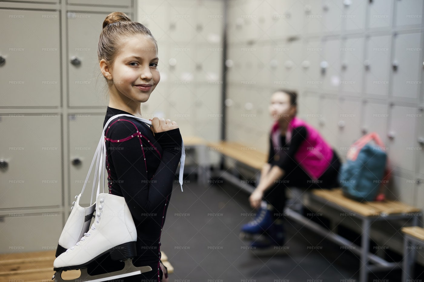 Little Figure Skater In Dressing...: Stock Photos
