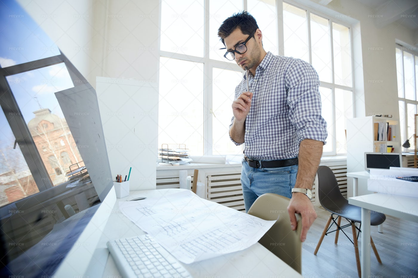 Middle-Eastern Engineer At...: Stock Photos