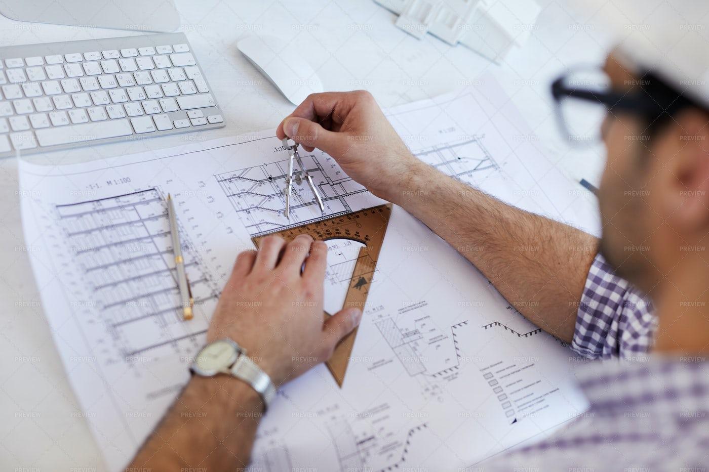 Engineer Drawing Scheme Closeup: Stock Photos