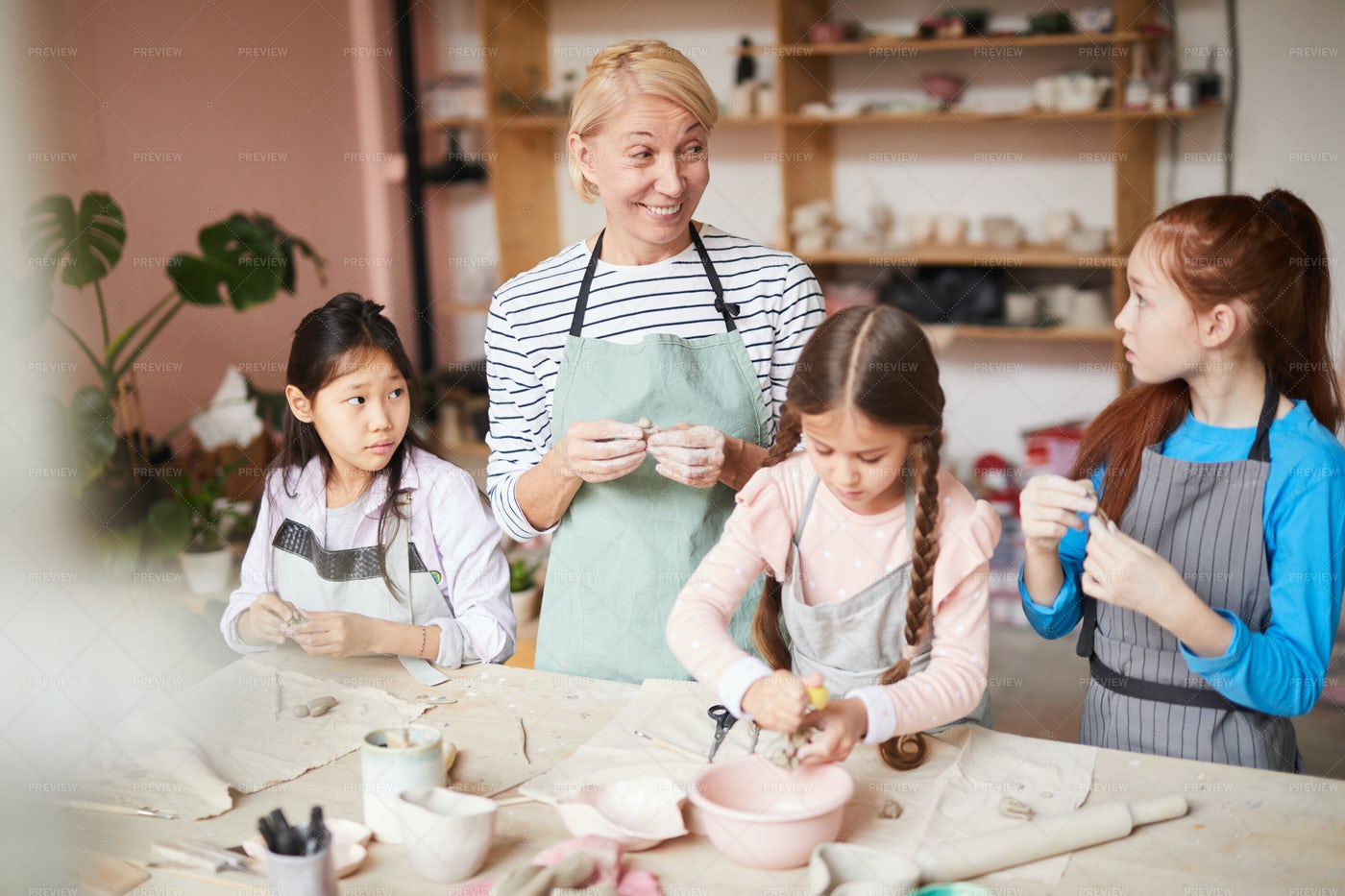 Pottery Class For Kids: Stock Photos