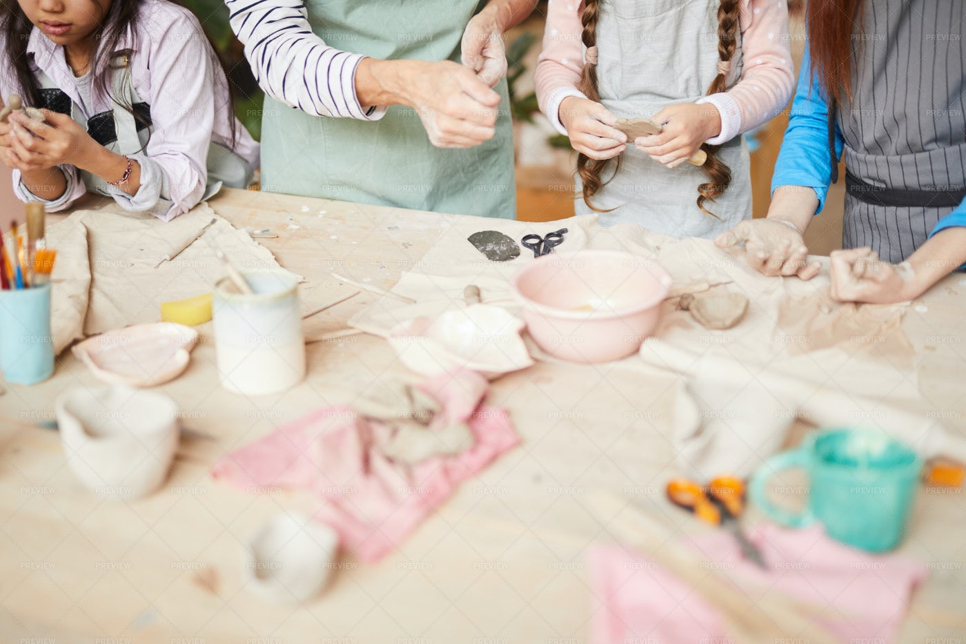 Children Creating Handmade Pottery: Stock Photos