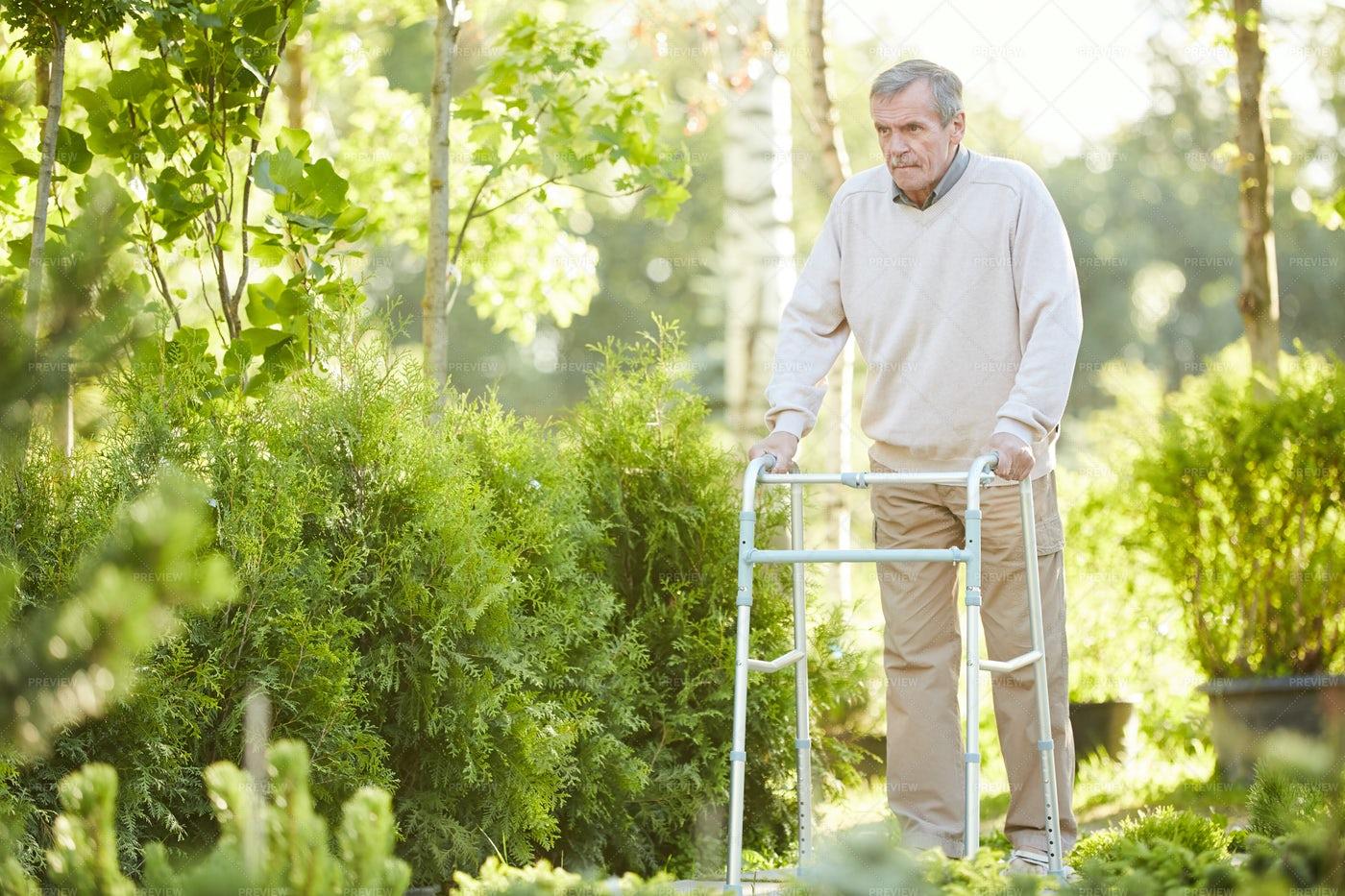 Senior Man Using Walker In Park: Stock Photos