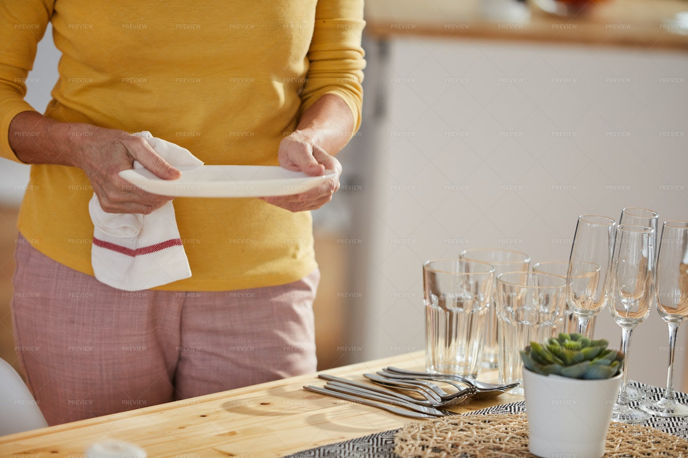 Serving Table At Home: Stock Photos
