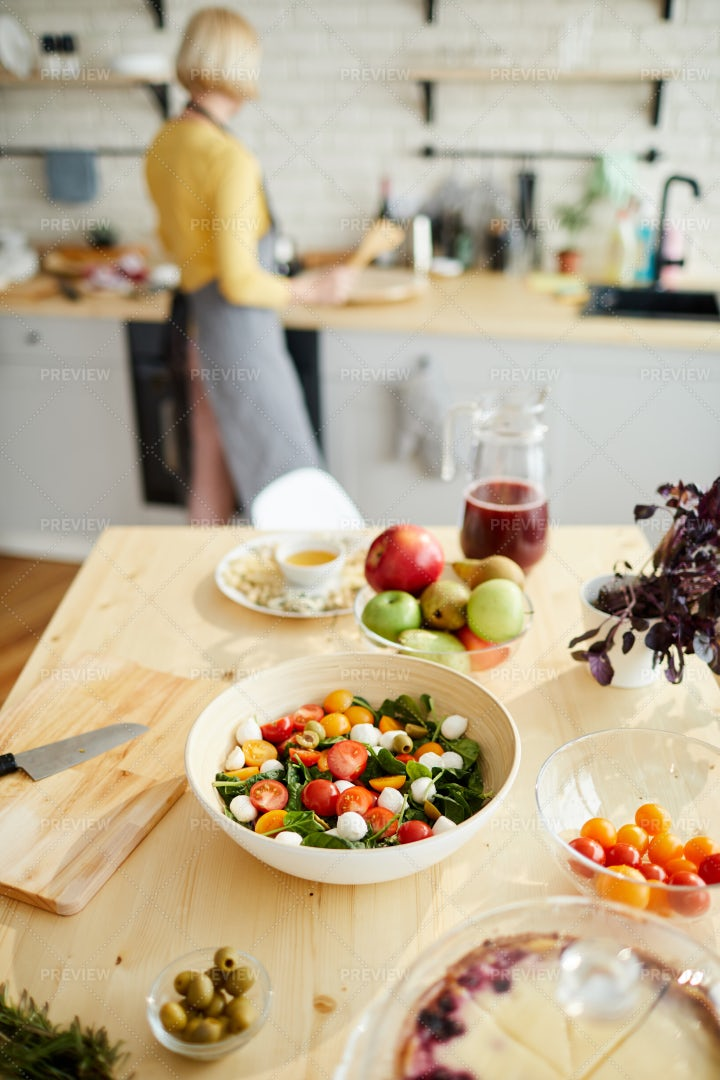 Appetizing Vegetable Salad On...: Stock Photos
