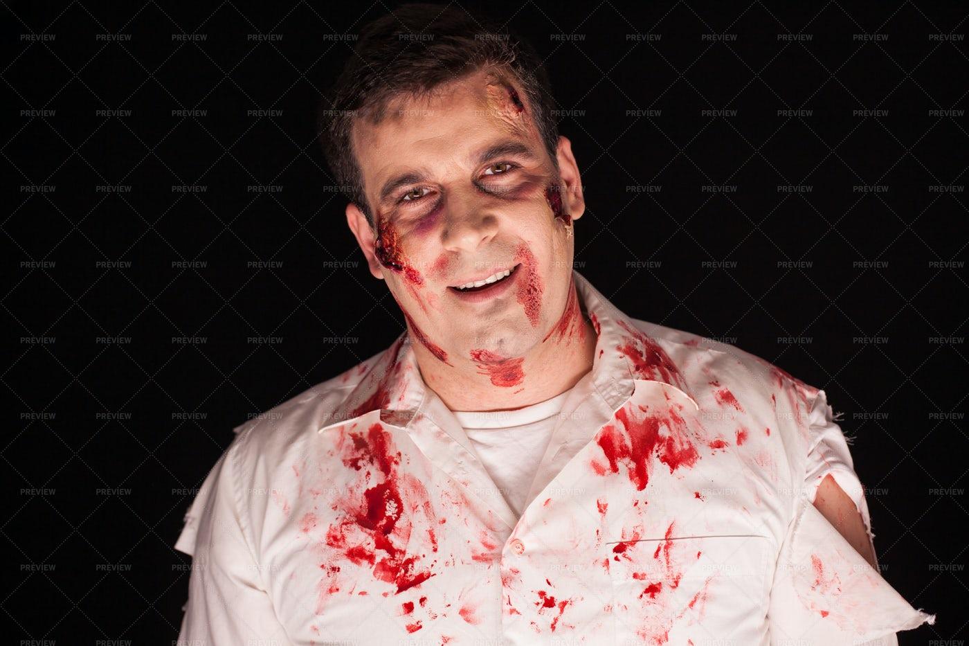 Face Of Creepy Zombie: Stock Photos