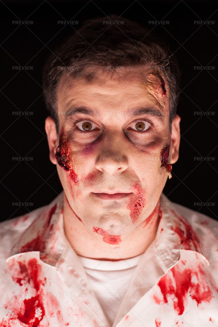 Close-Up Of A Bloody Zombie: Stock Photos