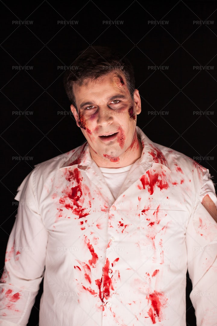 Scary Zombie With Blood: Stock Photos