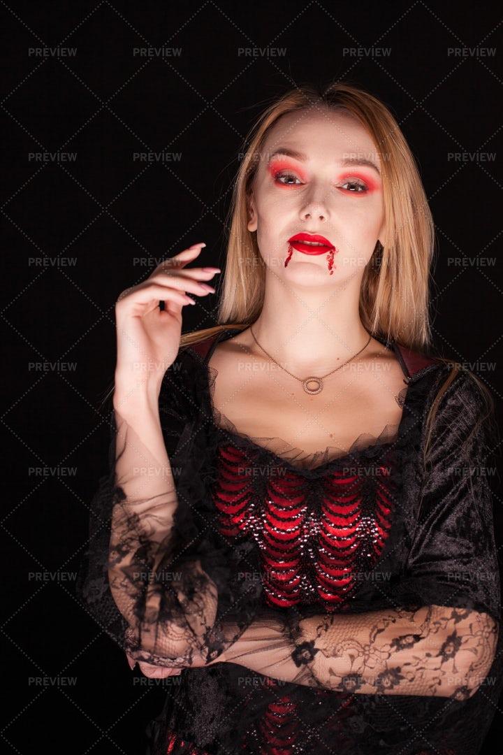 Bloody Lipped Vampire: Stock Photos