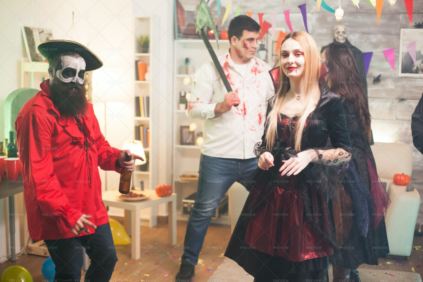 Dancing During A Halloween Party: Stock Photos