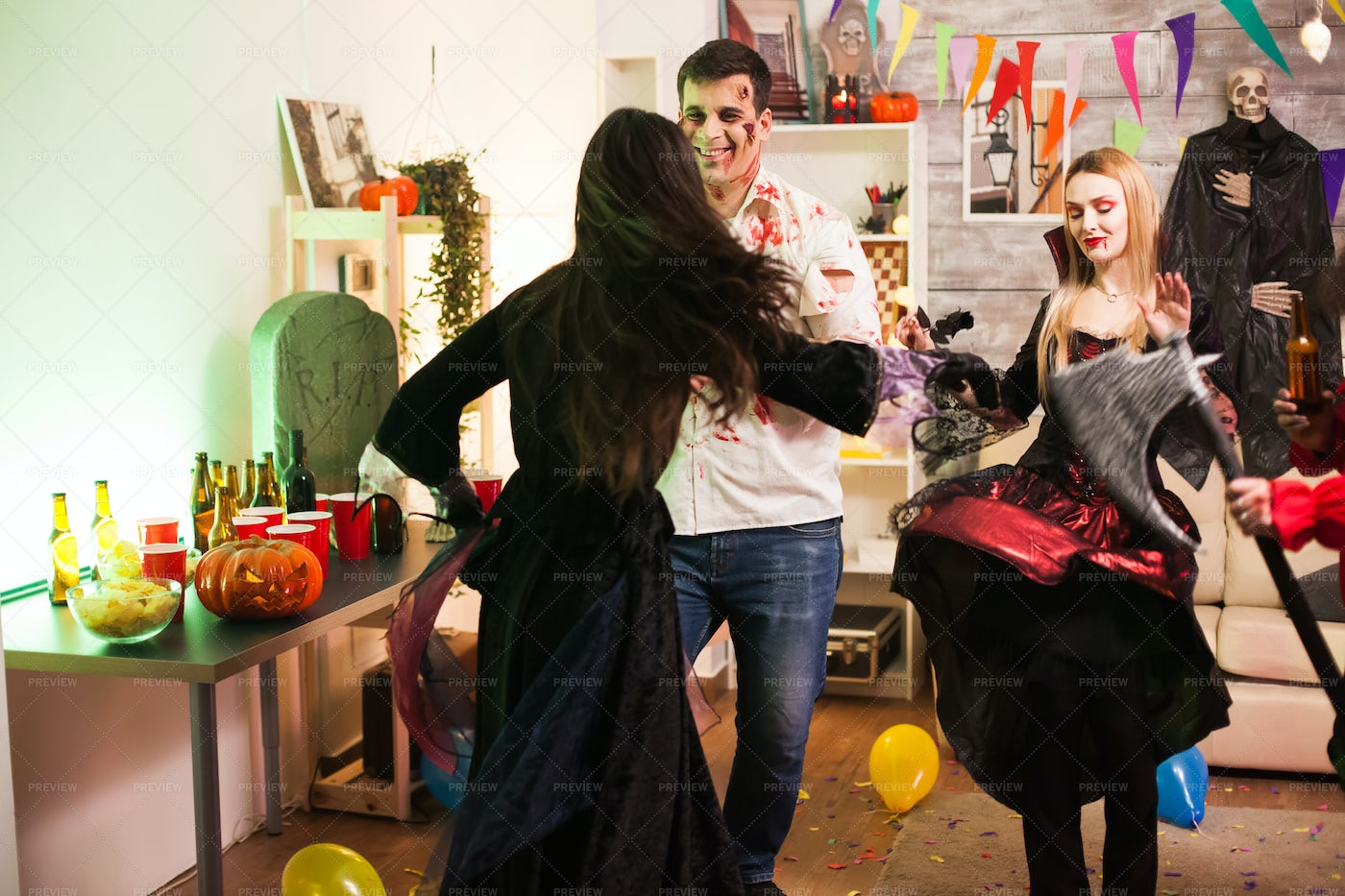 Halloween Party With Friends: Stock Photos