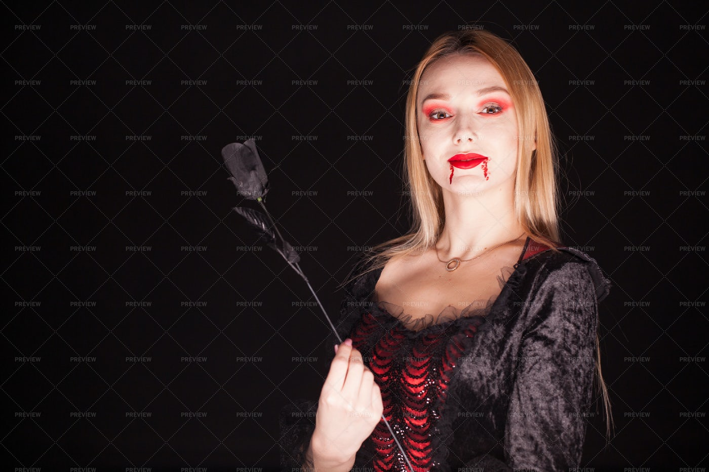 Woman With Bloody Lips: Stock Photos