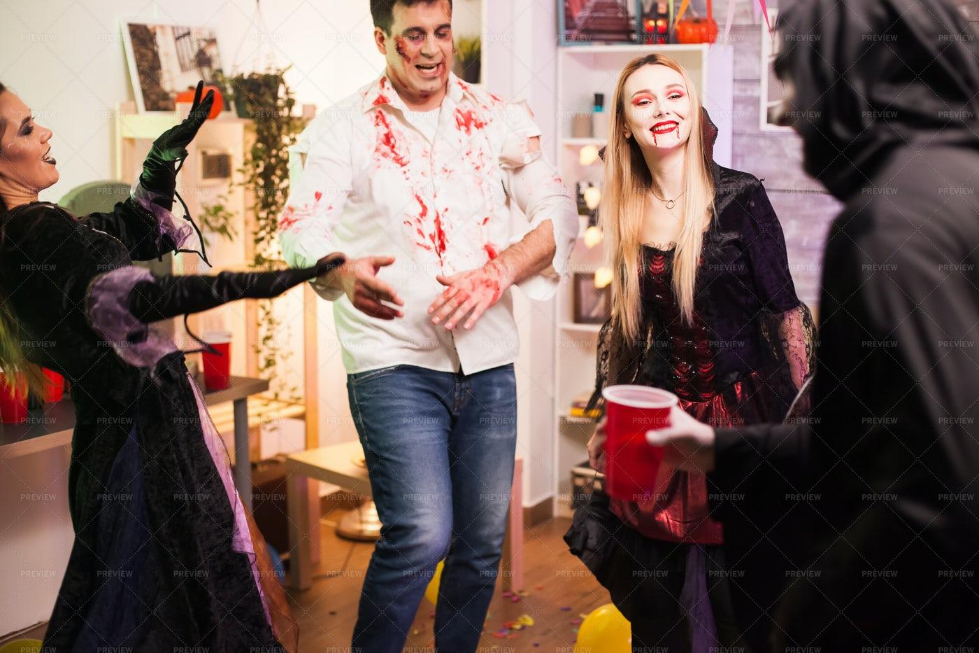 Zombie Enjoying The Party: Stock Photos