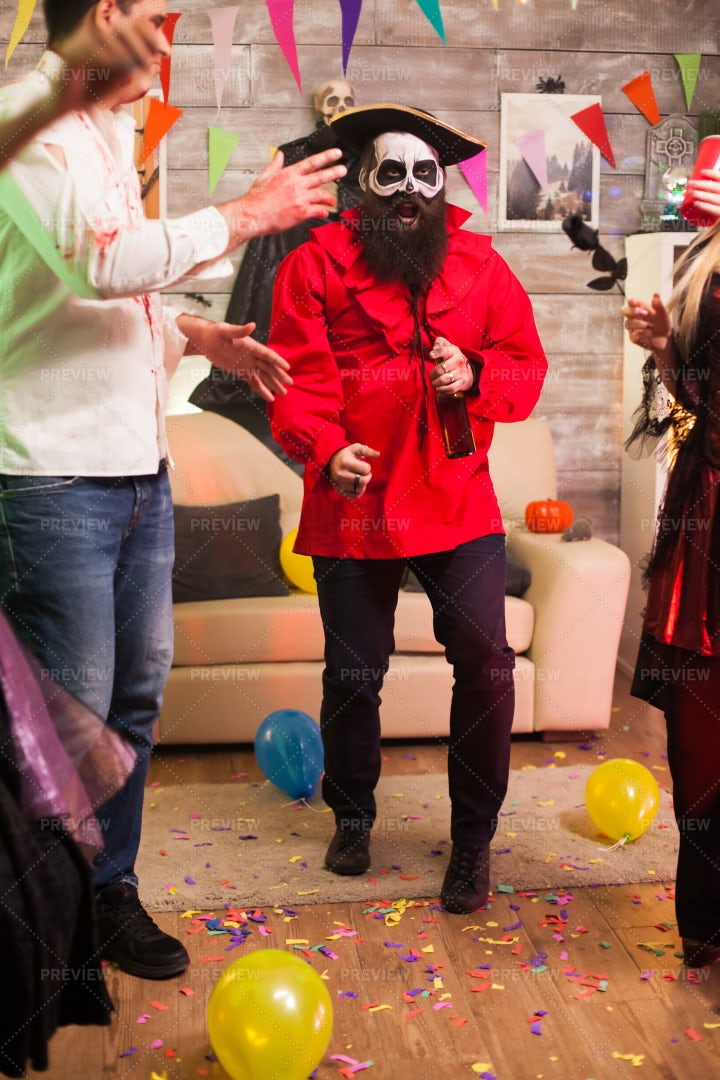 Halloween Pirate Shows Dance Moves: Stock Photos