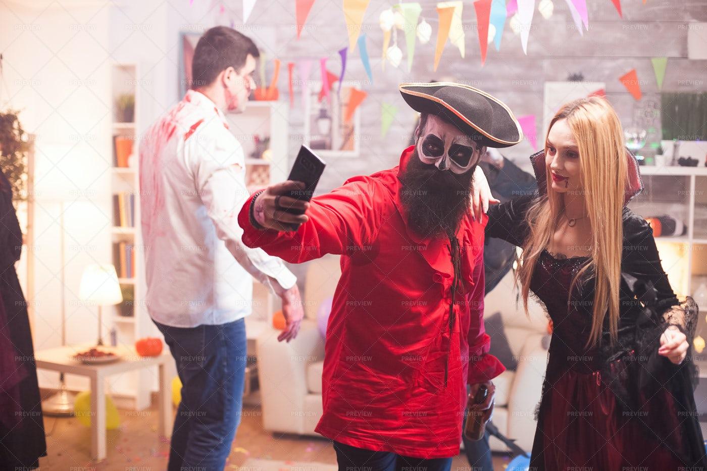 Selfie At Halloween Party: Stock Photos