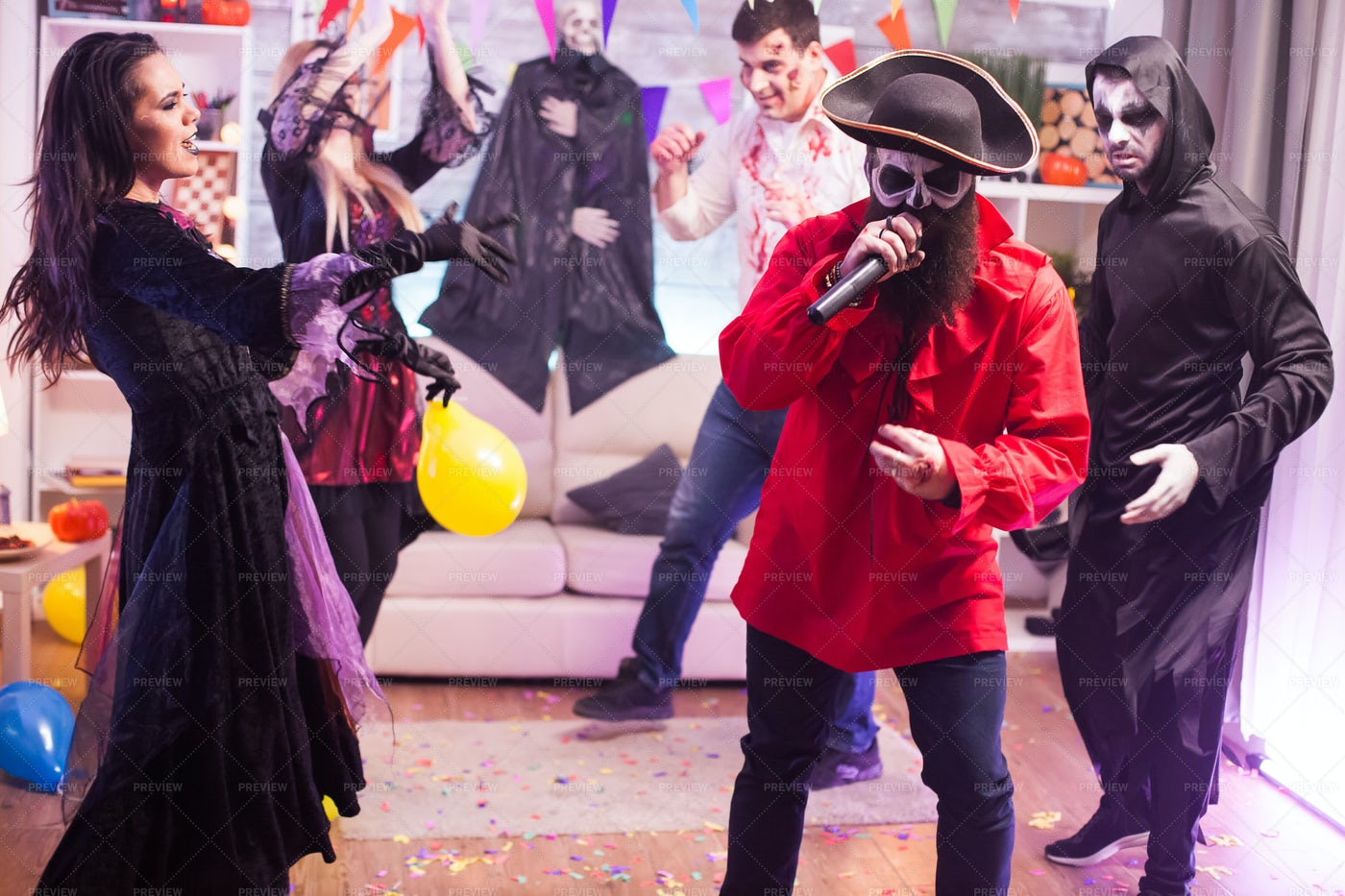 Pirate Karaoke At Halloween Party: Stock Photos