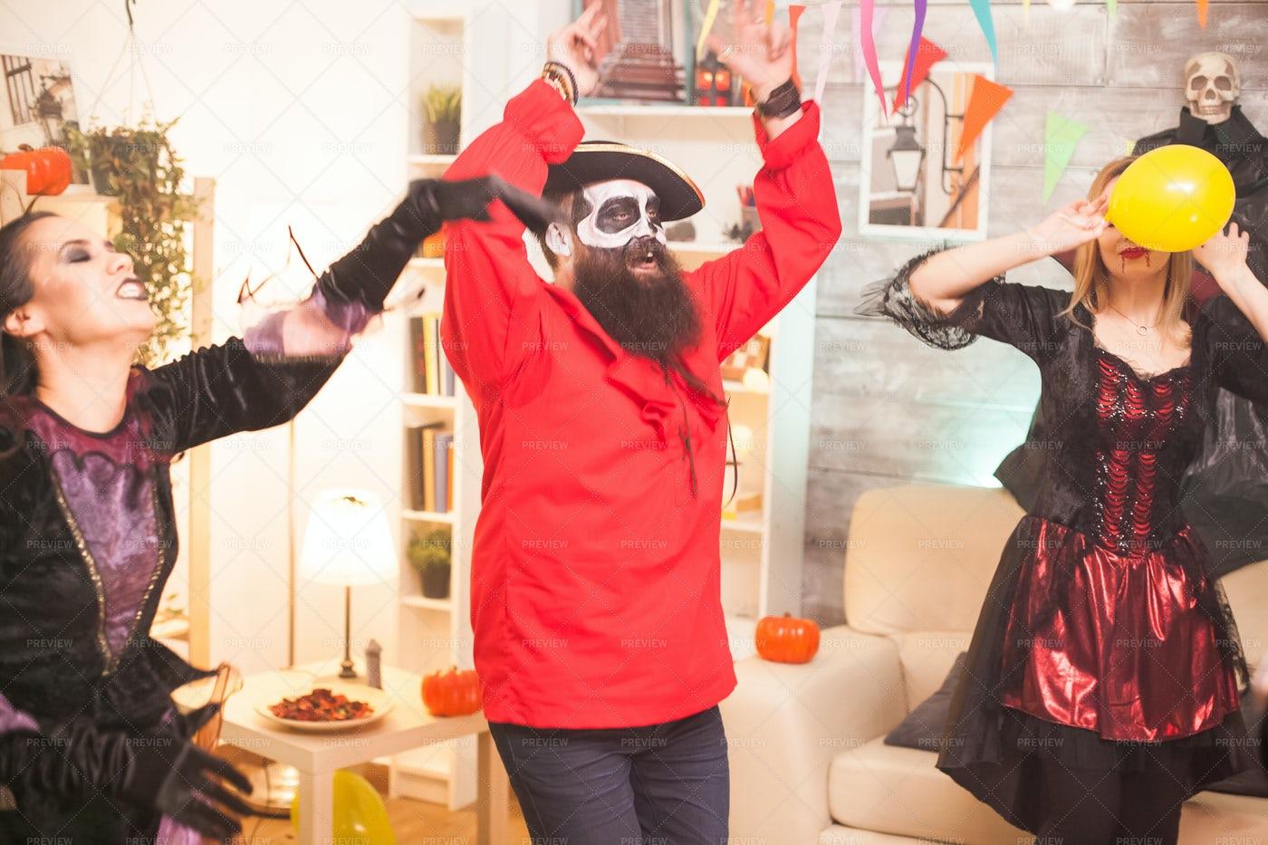 Bearded Pirate Dancing: Stock Photos
