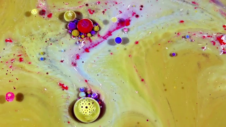 Colorful Ink Spheres On Oil 24: Stock Video