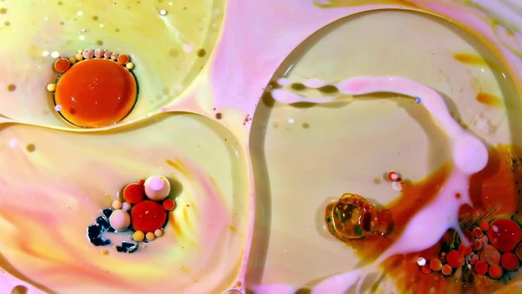 Colorful Ink Spheres On Oil 27: Stock Video